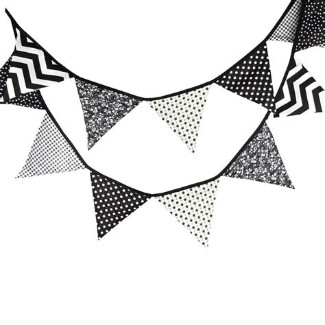 Bunting Flag Bunting Flag Bunting Flag Murah Banner Murah 12 flags 3 2m originality black and white cotton fabric bunting pennant flags banner garland