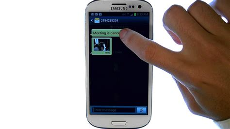 samsung galaxy siii how do i lock or save a text message