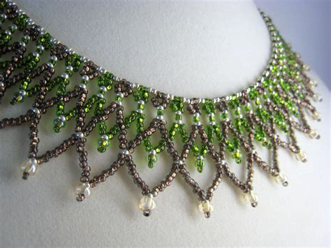 beadwork green green netted beadwork collar necklace beaded jewelry