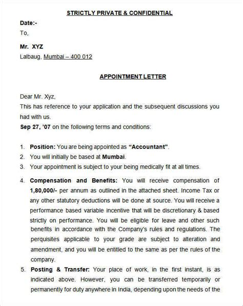 appointment letter format terms and conditions 31 appointment letter templates free sle exle