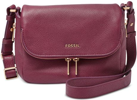 Fossil Maroon Large fossil leather small flap crossbody in purple
