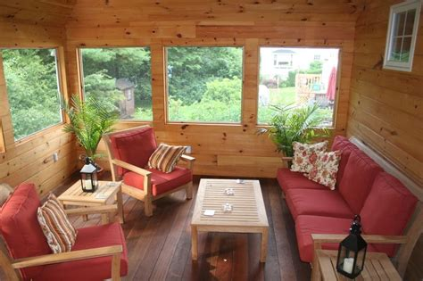knotty pine walls sunroom rustic  container plants