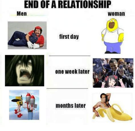 End Of Relationship Meme - end of a relationship men woman first day one week later