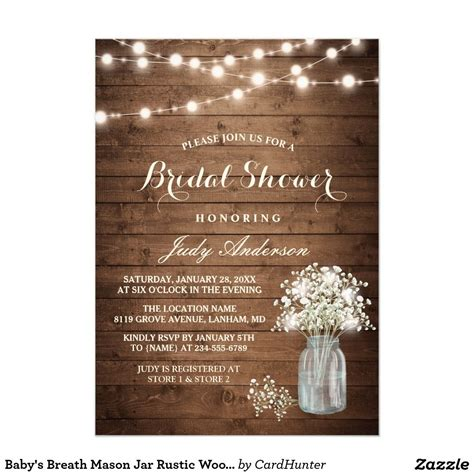 rustic bridal shower invitation ivory lace wood