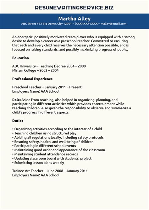 preschool teacher resume sle resume writing service