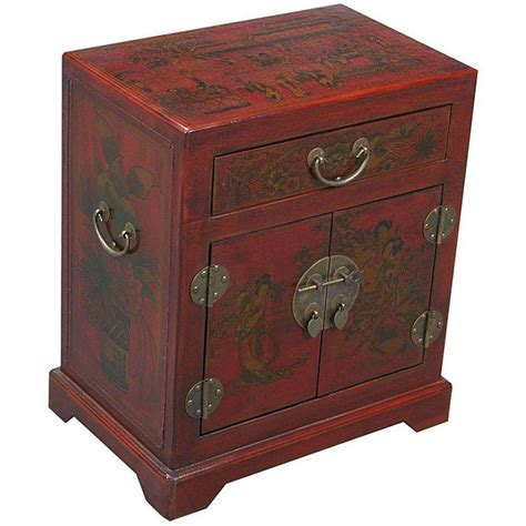 oriental accent tables red leather hand painted oriental accent end table china