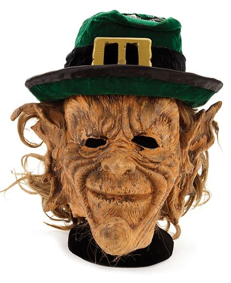 printable leprechaun mask leprechaun stunt mask and warwick davis hero signature hat
