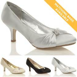 Wedding Shoes Ladies Womens Wedding Bridal Ladies Prom Shoes Low Heel Bridesmaid Evening Sandals Size Ebay