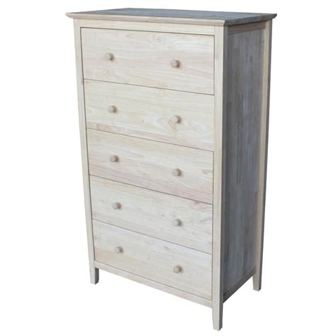 Unpainted Chest Of Drawers by International Concepts Chest With 5 Drawers Unfinished