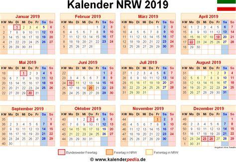 Jahreskalender 2019 Nrw Kalender 2019 Nrw Ferien Feiertage Pdf Vorlagen