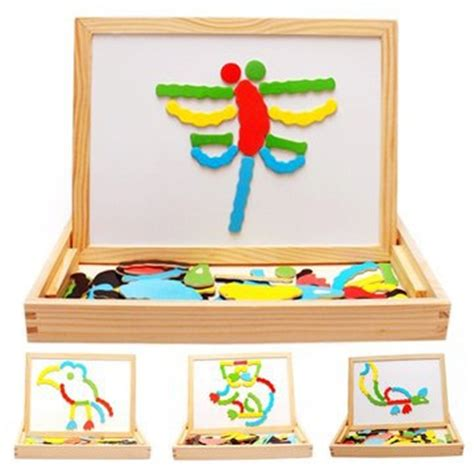 Papan Tulis Anak Papan Tulis Magnet Drawing Board Mainan Eduka wooden magnetic blackboard whiteboard beli murah