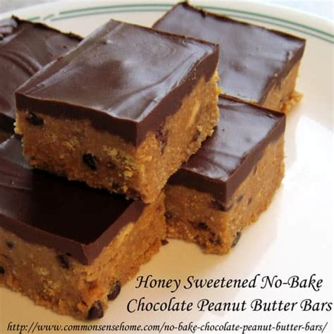 no bake peanut butter bars with chocolate on top honey sweetened no bake chocolate peanut butter bars