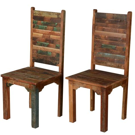 Distressed Wood Dining Chairs Rustic Distressed Reclaimed Wood Multi Color Dining Chairs Set Of 2