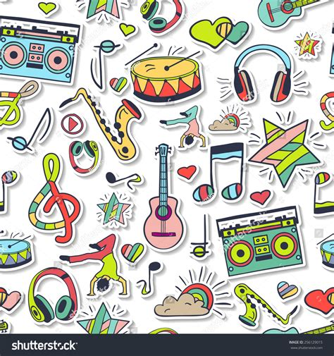 cute music pattern vector seamless 3d pattern cute background stock vector