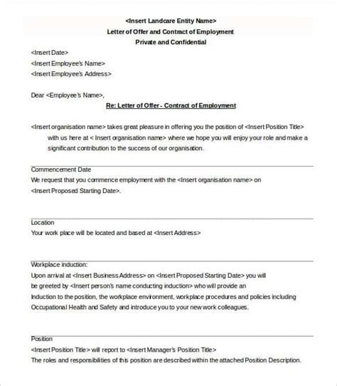 appointment letter format contract employees offer letter template 62 free word pdf format free