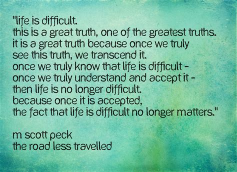 taking the road less traveled books m peck quotes quotesgram
