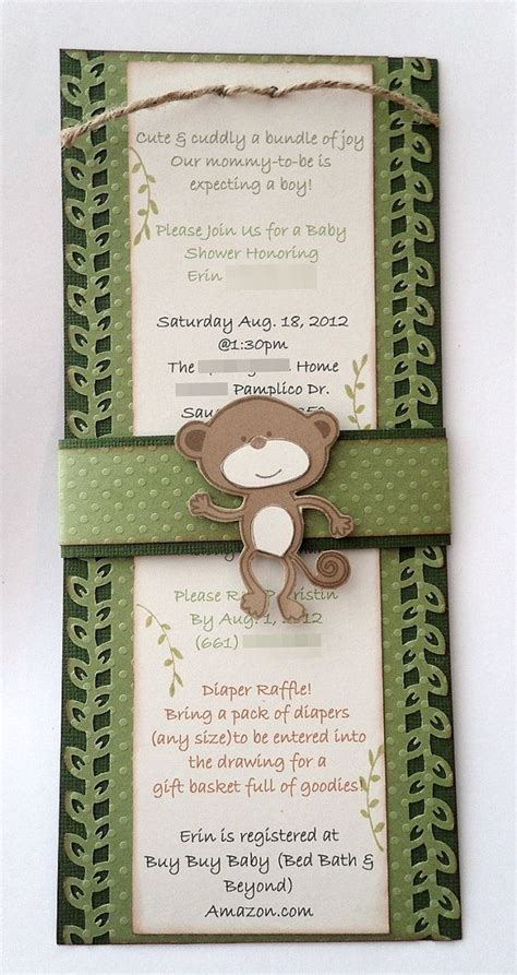 Custom Handmade Invitations - free shipping 20 monkey baby shower invitations custom