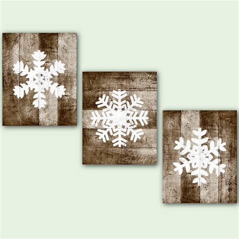 winter wall decor snowflake printable wood print winter wall set of 3