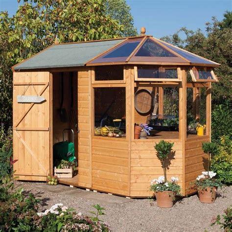 wood potting shed greenhouse combination  westmount