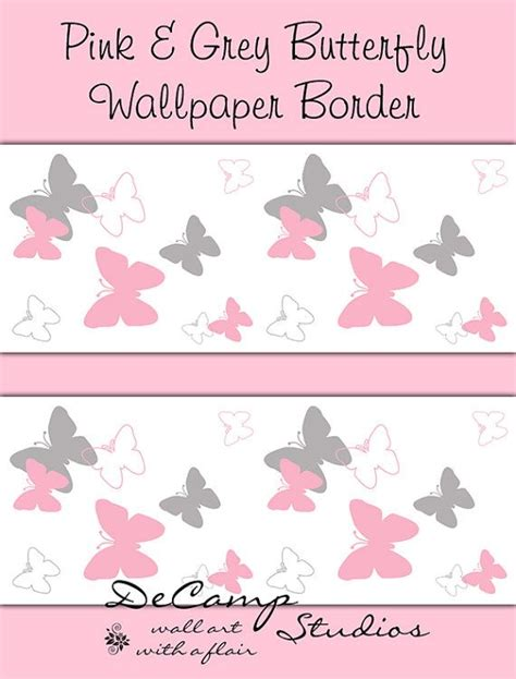 pink borders for bedrooms pink and grey butterfly wallpaper border wall art decals