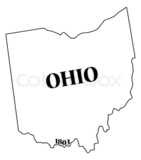 State Of Ohio Property Records An Ohio State Outline With The Date Of Statehood Isolated On A White Background