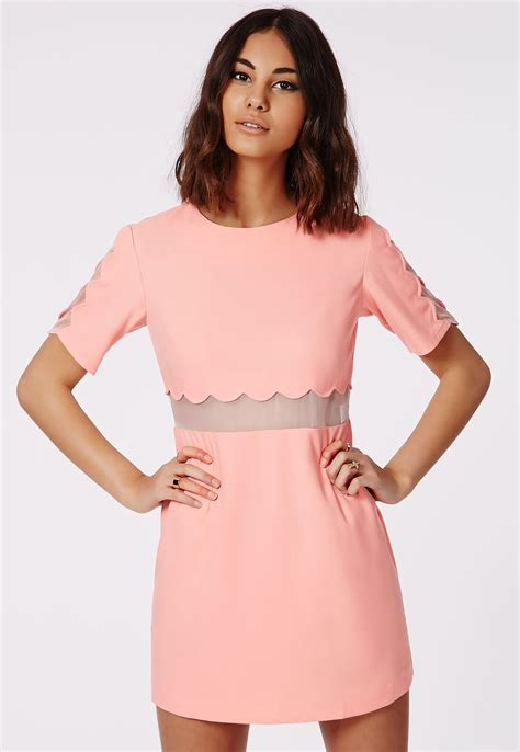 Scalop Pastel Dress verity crepe scallop shift dress pastel pink dresses