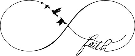 quot faith quot infinity symbol sign flying birds religious wall