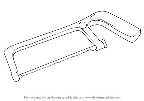 simple drawing tool learn how to draw a hacksaw tools step by step drawing