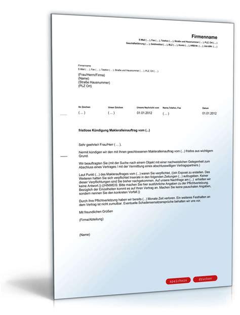 vorlagen kündigungsschreiben wohnung fristlose k 252 ndigung makleralleinauftrag muster zum