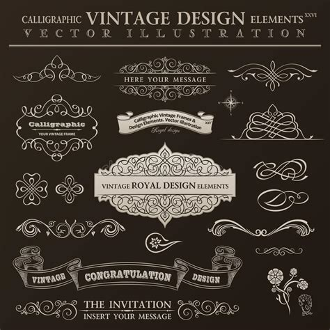 calligraphic vintage design elements vector set calligraphic design elements vintage set vector ornament
