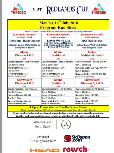 event schedule redlands cup