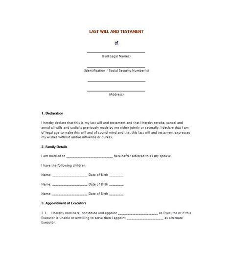 will testament template free 39 last will and testament forms templates template lab