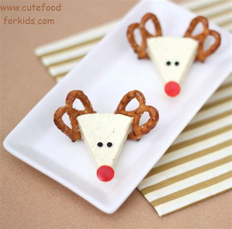 cute christmas appetizers for parties food for appetizer idea cheese reindeers