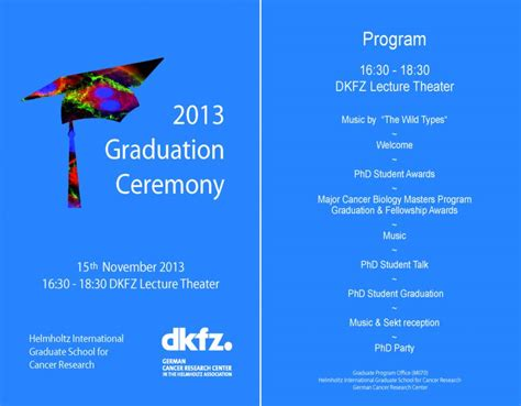 graduation ceremony program template deutsches krebsforschungszentrum