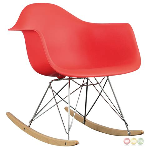 rocker molded plastic rocking lounge chair with chrome wood base red