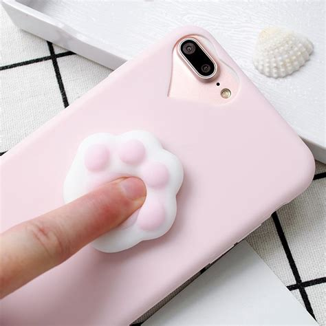 Iphone 7 Lovely Cat Lover Rivet Tassel Soft Casing Cover Bumper lovely 3d silicone cat paw soft tpu squishy phone for iphone big bay mart