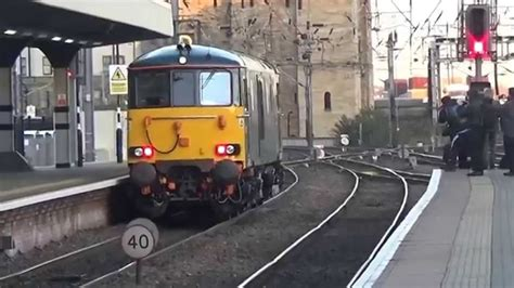 Scotrail Sleeper Class by Gbrf Class 73 Caledonian Sleeper Livery 73967 Passes Through Newcastle Central Station