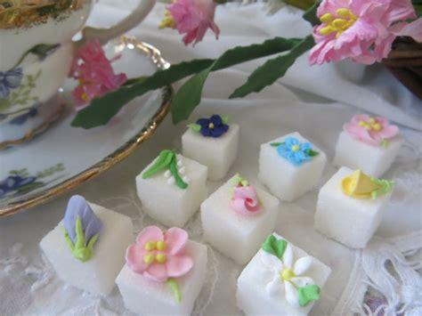 springtime decorated floral sugar cubes