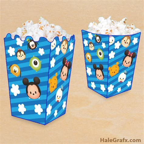 free printable disney tsum tsum popcorn box disney