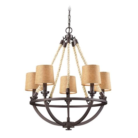Brown Chandelier Shades Chandelier With Brown Shades In Aged Bronze Finish 63015 5 Destination Lighting