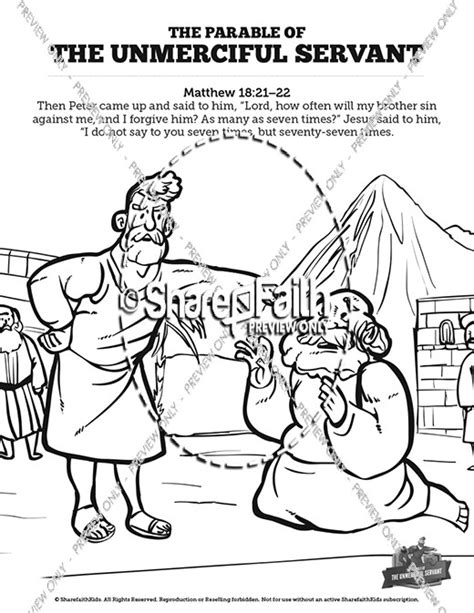 coloring page for the unforgiving servant matthew 18 the parable of the unforgiving servant sunday