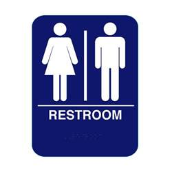 Bathroom Sign Blue Unisex Restroom Sign With Braille Blue Rs68 Cr Rs68