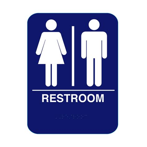bathroom signs unisex restroom sign with braille blue rs68 cr rs68