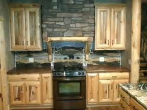 Rustic Kitchen Backsplash Ideas Rustic Kitchen Love The Backsplash Log Cabin