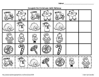 christmas pattern worksheet kindergarten christmas winter holiday math patterns by susie tpt