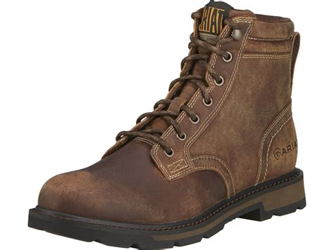 mens leather work boots ariat groundbreaker 6 toe work boots leather brown s