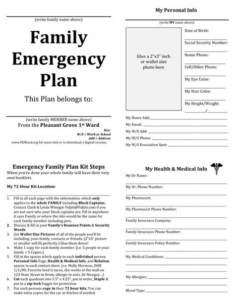 emergency plan for home family emergency plan printable documents for your