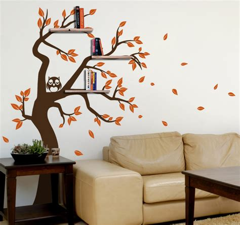 tree wall sticker with shelves shelving tree decal with owl and falling leaves