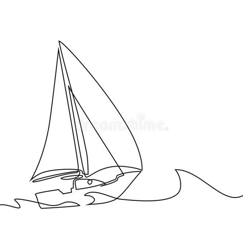 sailboat waves icon continuous line drawing of sailboat stock vector
