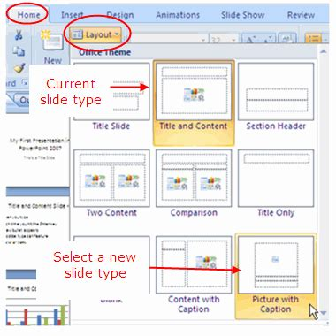 layout pptx slide layout types in powerpoint 2007